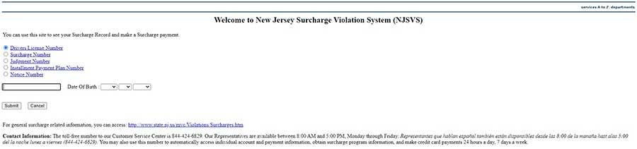 NJ surcharge violation system