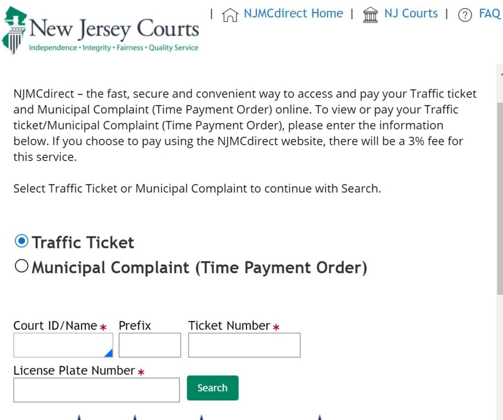 NJMCDIRECT - TRAFFIC TICKET PAYMENT ONLINE