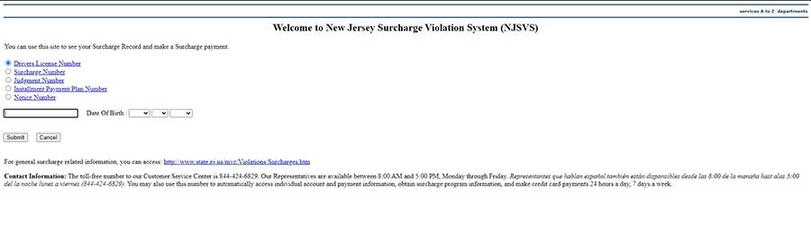 pay NJ Surcharge Online
